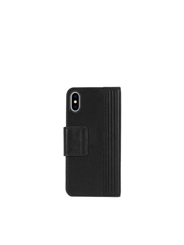 Diesel - BLACK LINED LEATHER IPHONE X FOLIO, Black - Flip covers - Image 4