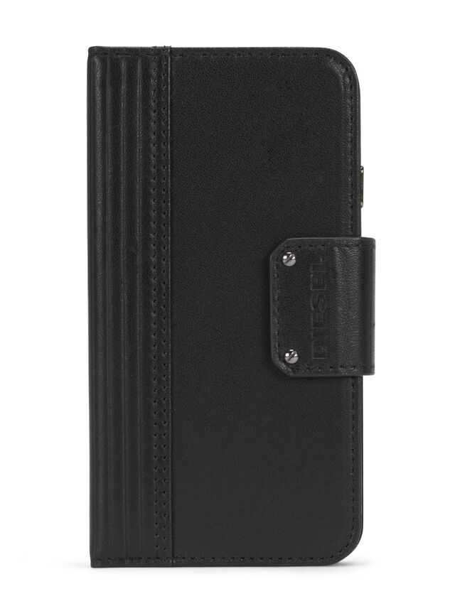 Diesel BLACK LINED LEATHER IPHONE 8 PLUS/7 PLUS FOLIO, Black - Flip covers - Image 1