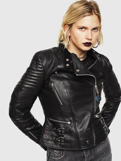 Diesel - L-IGE, Black - Leather jackets - Image 1