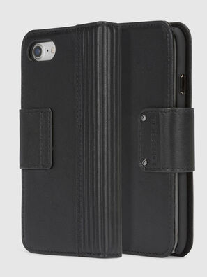 BLACK LINED LEATHER IPHONE 8/7 FOLIO,  - Flip covers