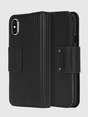 BLACK LINED LEATHER IPHONE X FOLIO,  - Flip covers