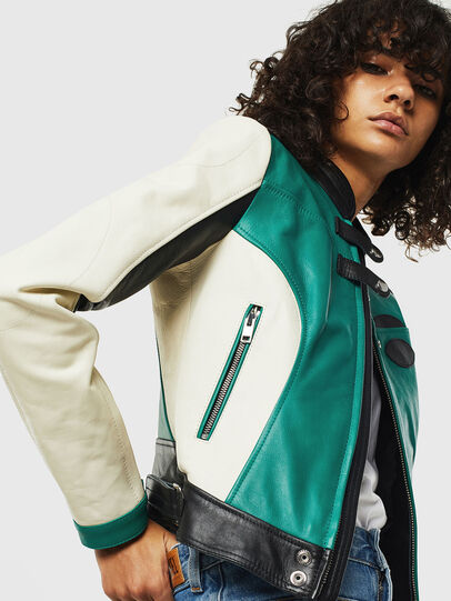 Diesel - L-ALLIE, White/Green - Leather jackets - Image 5