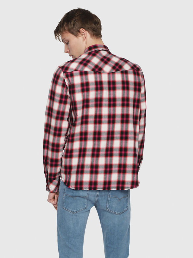 ed4ecec953 S-EAST-LONG-G Men  Checked western shirt in cotton