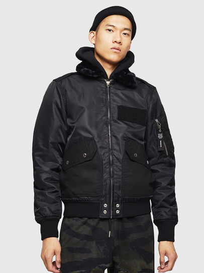Diesel - W-SLOTKIN-A, Black - Winter Jackets - Image 1