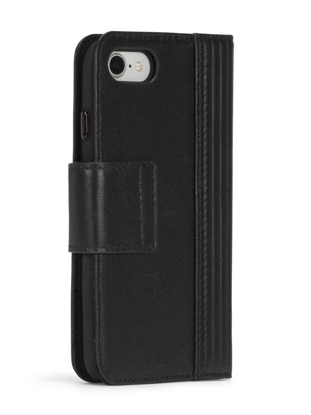 Diesel BLACK LINED LEATHER IPHONE 8 PLUS/7 PLUS FOLIO, Black - Flip covers - Image 7