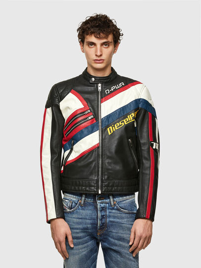 Diesel - L-POWER, Black/White - Leather jackets - Image 1