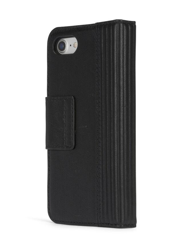 Diesel BLACK LINED LEATHER IPHONE 8 PLUS/7 PLUS FOLIO, Black - Flip covers - Image 6