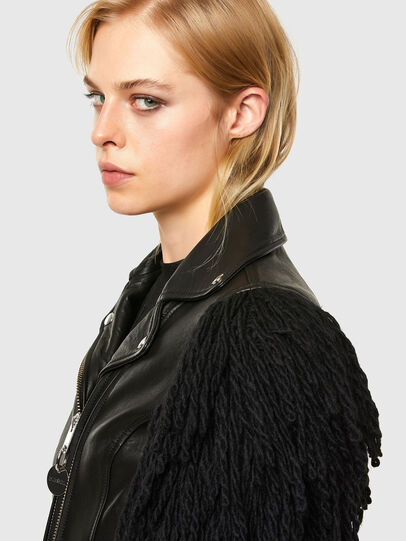 Diesel - L-ELIZABETH, Black - Leather jackets - Image 4