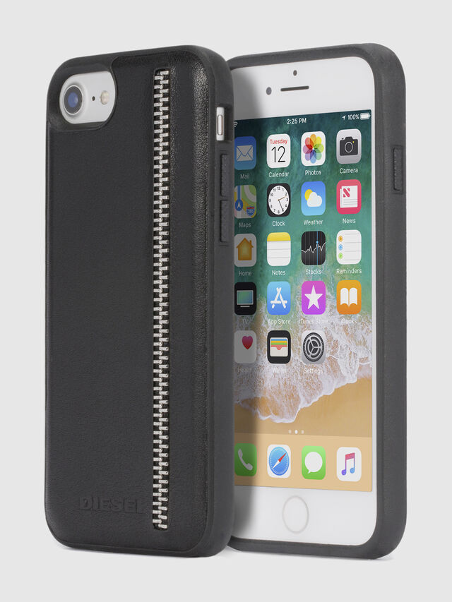 Diesel ZIP BLACK LEATHER IPHONE 8/7/6s/6 CASE, Black - Cases - Image 1