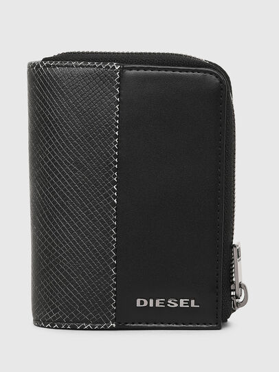 Diesel - L-12 ZIP, Black/White - Zip-Round Wallets - Image 1