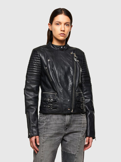 Diesel - L-IGE-NEW-A, Black - Leather jackets - Image 1