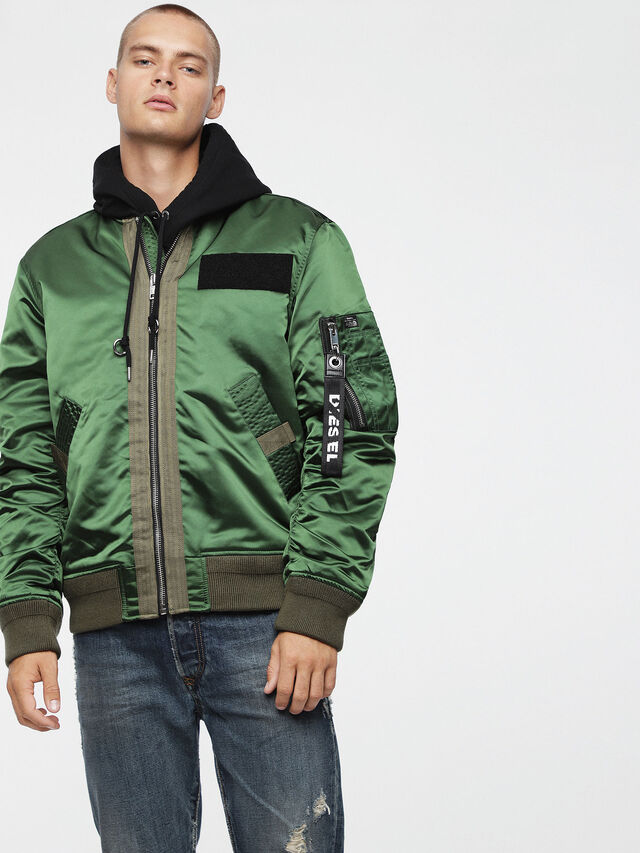 784455715ed3 J-SOULY Men  Shiny nylon bomber jacket with patches