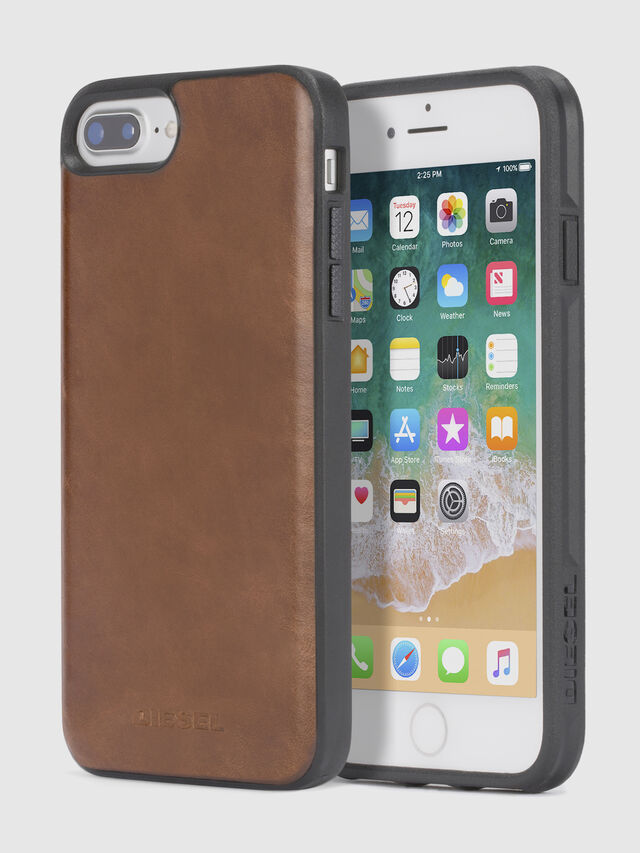 Diesel BROWN LEATHER IPHONE 8 PLUS/7 PLUS/6s PLUS/6 PLUS CASE, Brown - Cases - Image 1