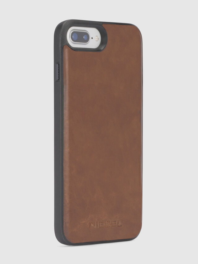 Diesel BROWN LEATHER IPHONE 8 PLUS/7 PLUS/6s PLUS/6 PLUS CASE, Brown - Cases - Image 4