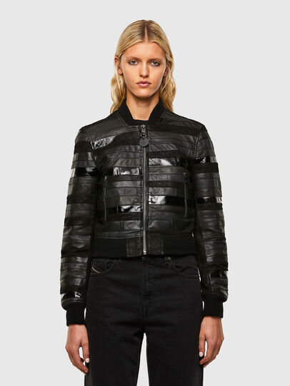 Diesel - L-WALL, Black - Leather jackets - Image 1