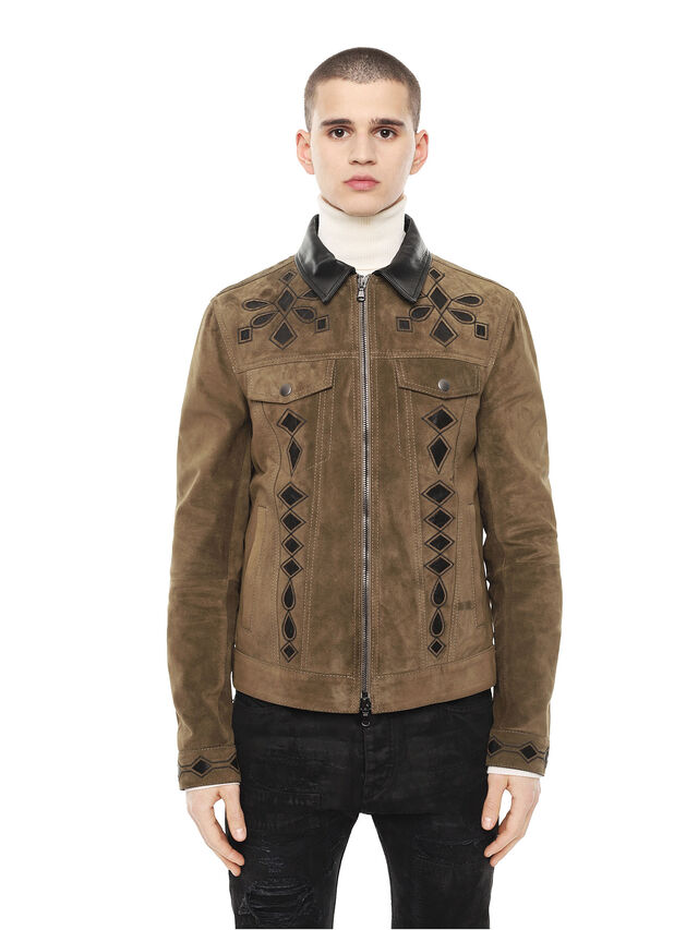 14961bee Diesel - LYRICH, Green/Black - Leather jackets - Image 1