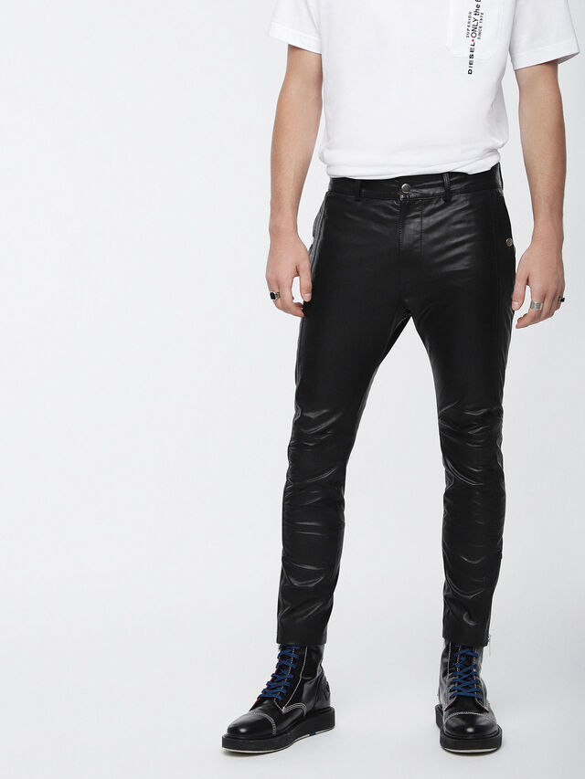 Diesel - P-MONTE-L, Black Leather - Pants - Image 1