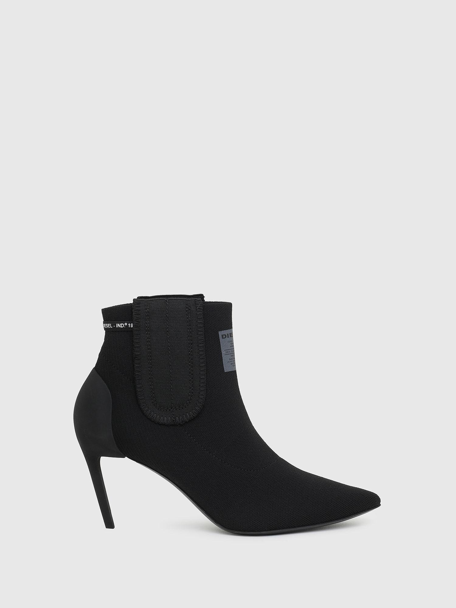 sock ankle boots mid heel