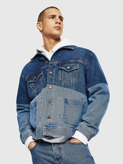 Diesel - D-PUF, Medium blue - Denim Jackets - Image 1