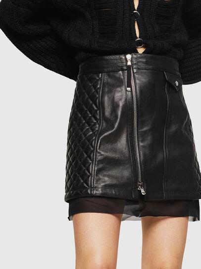 Diesel - OLESIA, Black - Leather skirts - Image 3