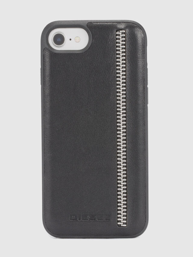 Diesel ZIP BLACK LEATHER IPHONE 8 PLUS/7 PLUS/6s PLUS/6 PLUS CASE, Black - Cases - Image 2