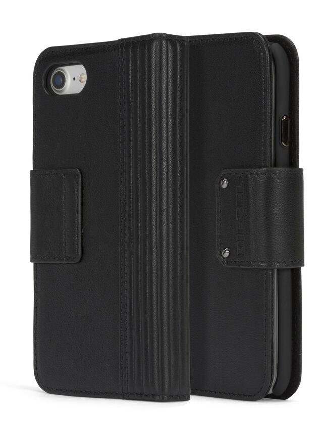 Diesel BLACK LINED LEATHER IPHONE 8 PLUS/7 PLUS FOLIO, Black - Flip covers - Image 3