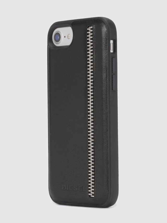 Diesel ZIP BLACK LEATHER IPHONE 8 PLUS/7 PLUS/6s PLUS/6 PLUS CASE, Black - Cases - Image 6