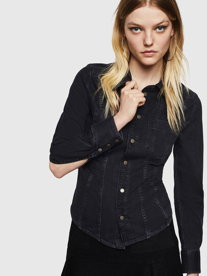 Diesel - DE-FLYP, Black/Dark grey - Denim Shirts - Image 6