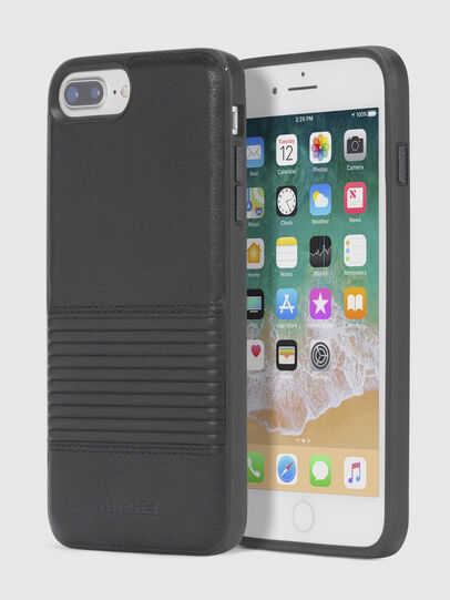 Diesel - BLACK LINED LEATHER IPHONE 8 PLUS/7 PLUS/6s PLUS/6 PLUS CASE,  - Cases - Image 1