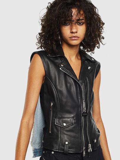 Diesel - L-WELLS, Black Leather - Leather jackets - Image 1