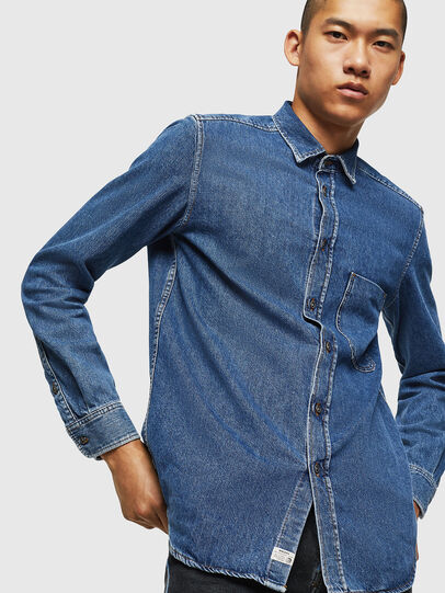 Diesel - D-BER-P, Medium blue - Denim Shirts - Image 4