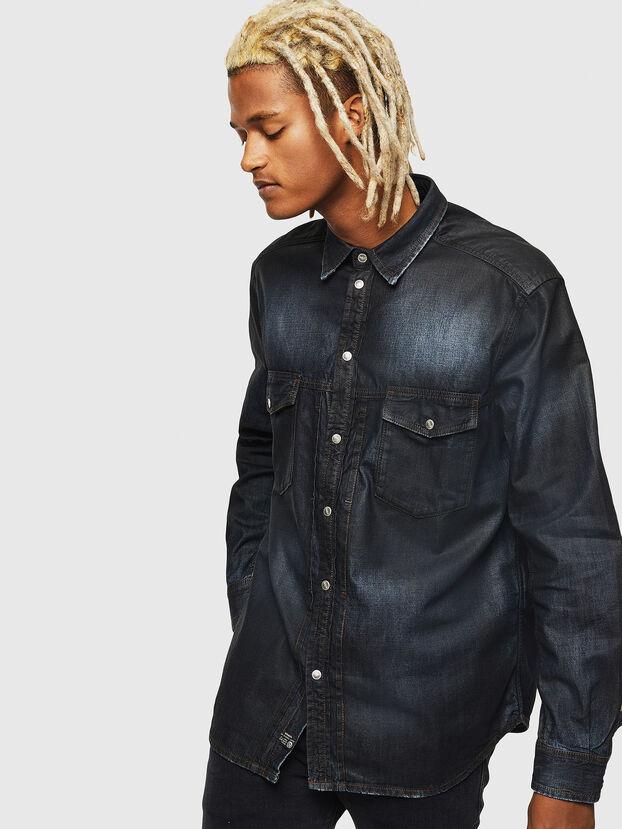 D-BANDY-B, Dark Blue - Denim Shirts