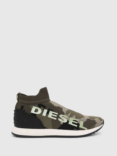 Diesel - SLIP ON 03 LOW SOCK, Green Camouflage - Footwear - Image 1